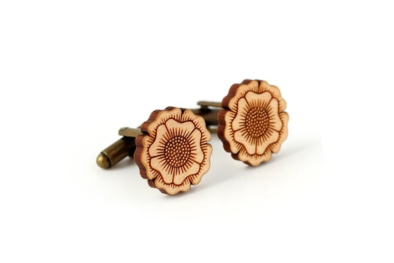 Flower cufflinks in lasercut wood - floral cuffs - romantic groom accessory - fall jewelry - autumn wedding - bestman gift - Botanica