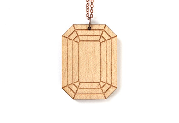Emerald pendant - wooden stone necklace - fake precious jewelry - bling jewellery - lasercut maple wood - lasercutting - graphic jewelry