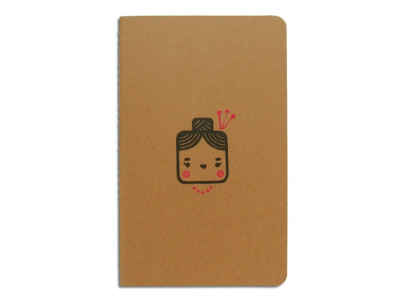 Cute Moleskine notebook Madame - Handstamped with cute character illustration - A5 / medium