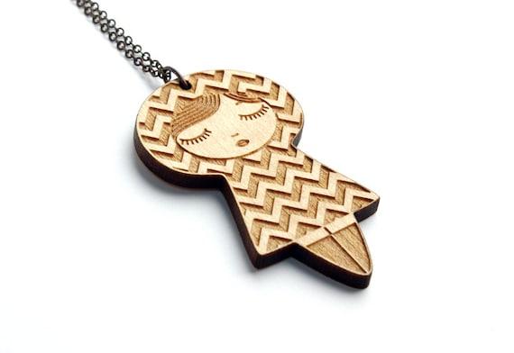Doll necklace with chevron pattern - wooden kokeshi pendant - matriochka jewelry - russian doll jewellery - lasercut maple wood - graphic