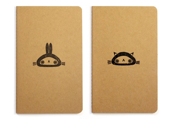 Set of two cute Moleskine notebooks Bunny and Cat - Handstamped with cute character illustration - A5 / medium