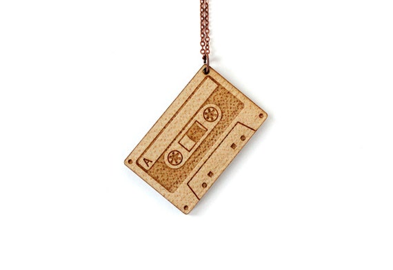 Audio tape necklace - lasercut wood - wooden pendant - vintage technology jewelry - rock jewellery - graphic accessory - 80's - eighties