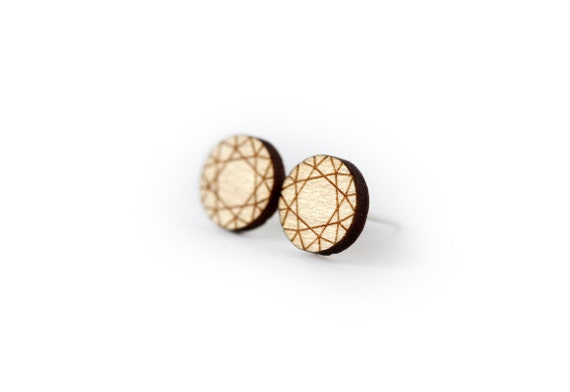 Wooden diamond studs - round earrings - tiny posts - mini jewelry - graphic jewellery - lasercut maple wood - hypoallergenic surgical steel