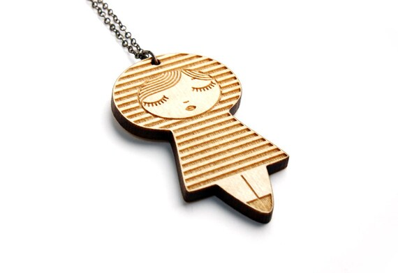 Doll pendant with stripes pattern - matriochka necklace - kokeshi jewelry - lasercut maple wood - wooden graphic jewellery - geometric