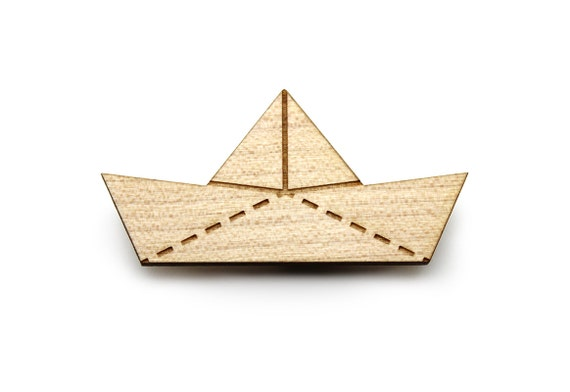 Paper boat brooch - origami ship pin - lasercut maple wood - nautical jewellery - beach jewellery - graphic brooch for sea lover - navy