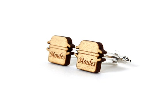 Mussels cufflinks - kitsch French food cufflinks - lasercut maple wood - wedding accessory for men - groom jewelry - bestman jewellery