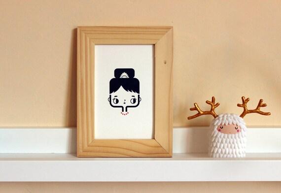 Postcard Audrey - cute greeting card - kawaii illustration - minimalist home decor children bedroom - black white red - girl gift