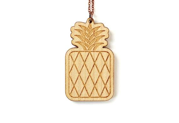 Pineapple pendant - fruit necklace - summer jewelry - retro kitsch beach jewellery - lasercut maple wood - graphic jewelry - holidays
