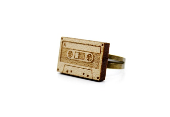 Audio tape ring - lasercut maple wood - graphic laser jewelry - music accessory - retro - vintage - 80's - 90's - OSFA - adjustable
