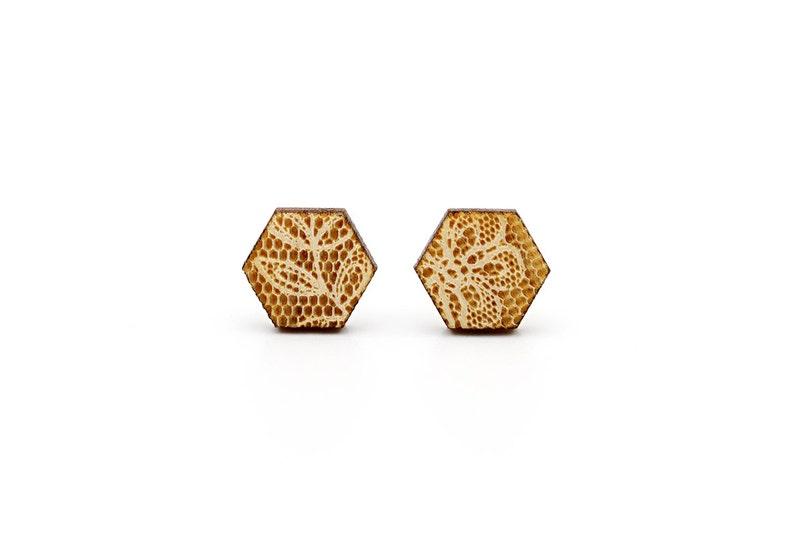 geometric earrings Hexagon studs with lace pattern hypoallergenic surgical steel posts romantic wedding jewelry lasercut maple wood