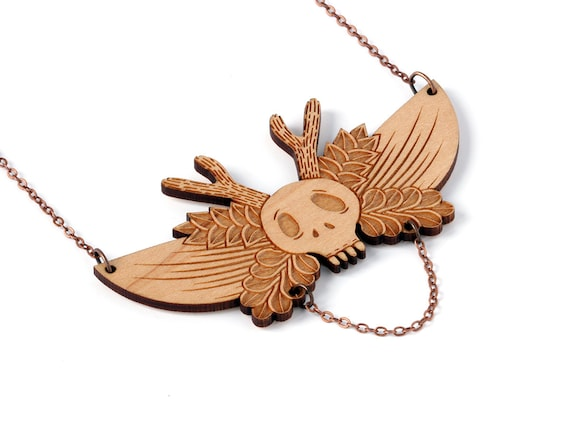 Winged skull with antlers - statement necklace - wings flowers and leaves - bib necklace - gothic pendant - tattoo jewellery - lasercut wood
