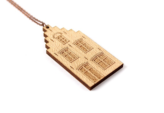 Dutch house necklace - Amsterdam house pendant - lasercut wood - architecture jewelry - travel jewellery - architect accessory - Holland