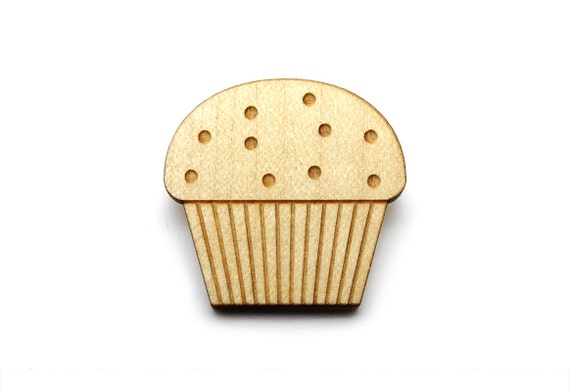 Muffin brooch - cake pin - graphic food accessory - cute kawaii cupcake jewelry - lasercut maple wood - retro - kitsch - vintage style