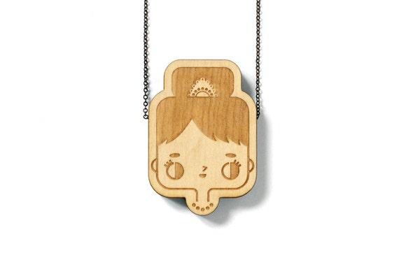 Wooden pendant Audrey - laser engraved and cut - minimalist - cute - japanese - scandinavian - design - maple