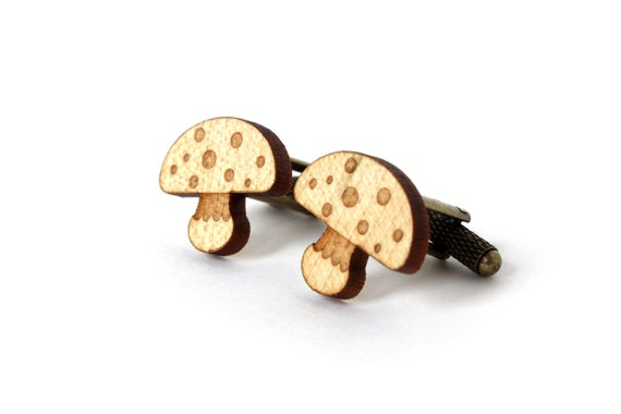 Mushroom cufflinks - laser wooden cuffs - wedding accessory for the groom - lasercut maple wood - best man gift - autumn jewelry