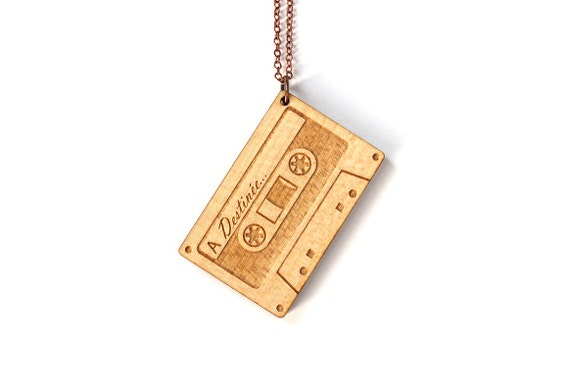 Custom pendant - audio tape - gift for music lover - customized necklace - vintage name jewelry - lasercut wood - engraving - lasercutting