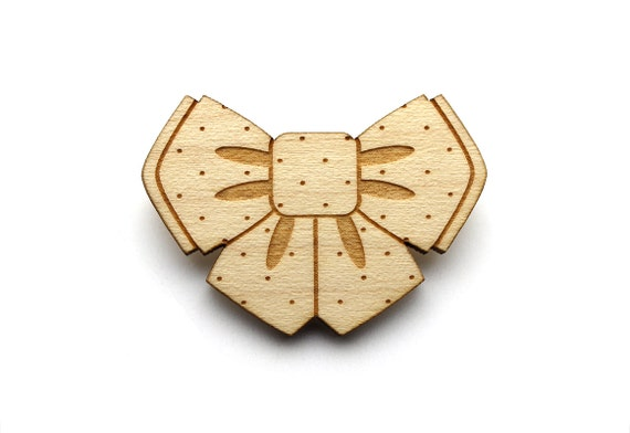 Bowtie brooch - bow tie pin - cute jewelry - kawaii jewellery - graphic retro accessory - lasercut maple wood