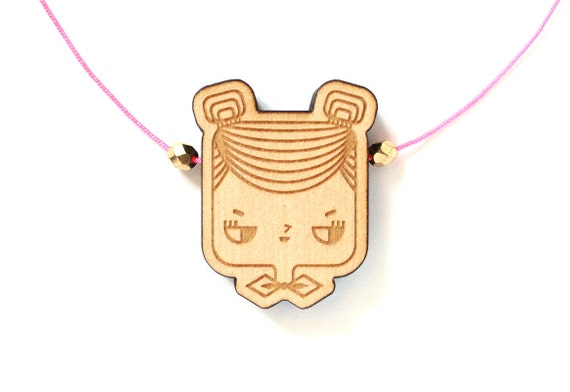 Wooden necklace Judith - girl with hair buns and bowtie pendant - miniature character pendant - minimalist jewellery - lasercut jewelry