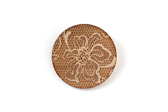 Round shaped brooch with lace pattern - wedding pin - vintage jewelry - retro jewellery - lasercut maple wood - romantic accessory