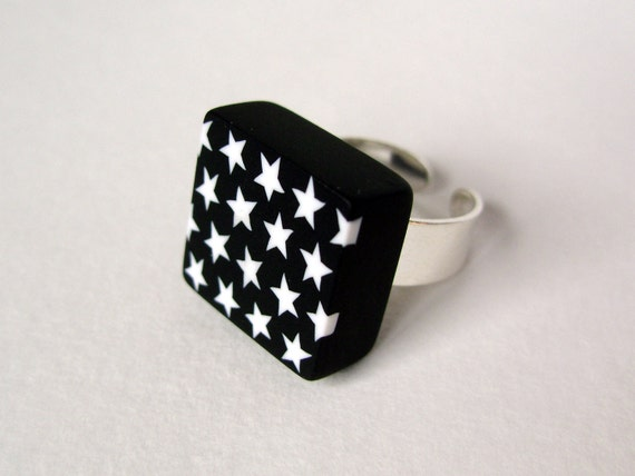 Black and white square ring - star pattern - geometric ring - sterling silver - polymer clay