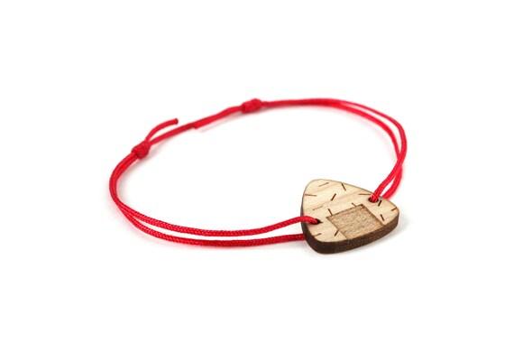 Onigiri bracelet - 25 colors - graphic Japanese food bangle - adjustable length - lasercut maple wood - graphic jewelry - customizable