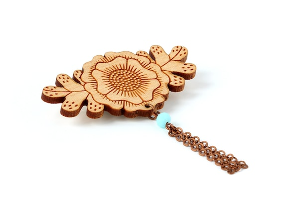 Flower brooch with chain tassel and bead - wooden floral pin with faceted glass beads - fall accessory - autumn - lasercut wood jewellery