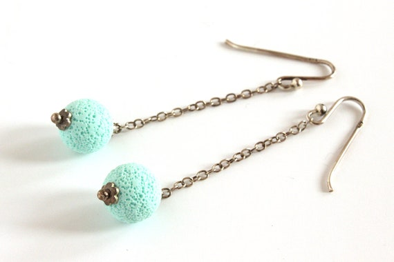Mint earrings - sterling silver and polymer clay - pastel green - textured sphere - statement jewelry - minimalist - color block jewellery