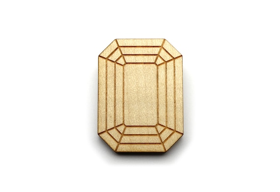 Emerald brooch - fake stone pin - fake bling diamond - rectangular brooch - offbeat graphic trompe-l'oeil jewelry - lasercut maple wood
