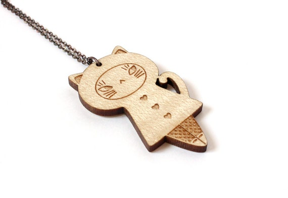 Wooden doll necklace - cat pendant - kitten jewelry - animal - lasercut wood - kawaii accessory