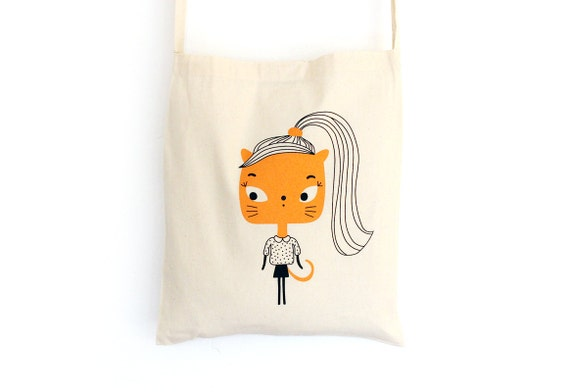 Tote bag with shoulder strap - 80's Cat - screen-printed shopping bag - organic cotton - bag illustrated with cat