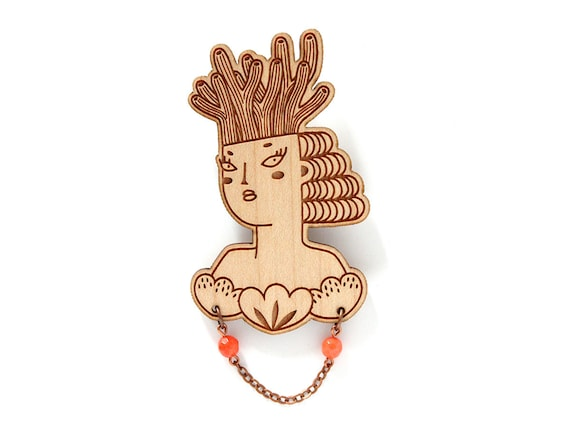 Mermaid brooch - wooden pin - coral necklace - woman with coral on her head and shells on her chest - lasercut jewelry - wood jewellery
