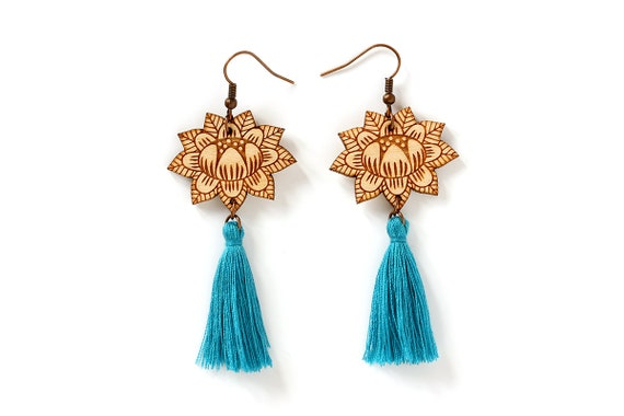 Flower earrings with turquoise tassel - wooden floral dangle earrings - blue - stylized vegetal jewelry - folk jewellery - lasercut wood