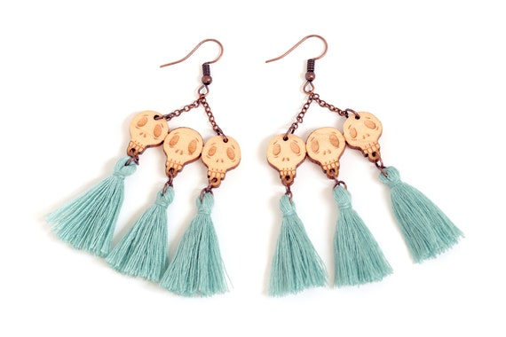 Statement skulls earrings in lasercut wood with tassels - gothic dangle - halloween dark jewelry with pompon - tattoo accessory