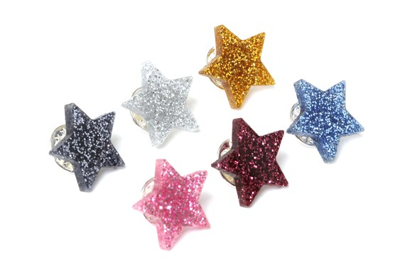 Glitter star pin made of lasercut acrylic - different colors - graphic brooch - not another enamel pin - bold gift for unicorn lover