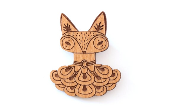 Fox with historical costume and jewelry brooch in lasercut wood - animal pin with gift - elegant and original statement accessory