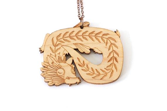 Dragon necklace in lasercut wood - whimsical creature pendant - fantastic animal jewelry - fantasy magical beast - extraordinary mythology