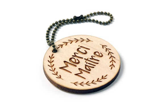 "Keychain with message ""Thank you teacher"" in lasercut maple wood with foliage pattern - end of the school year - gift for teacher"
