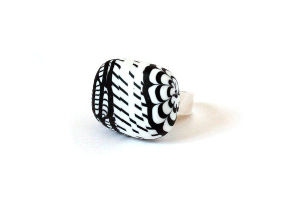OOAK statement ring - striped black and white ring - graphic sterling silver ring - stripes - ethnic