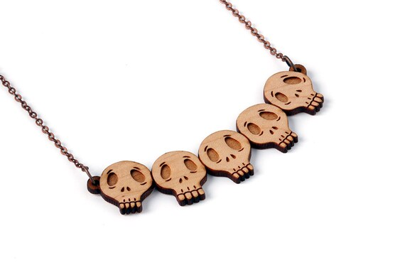Collection of skulls necklace - statement necklace - wooden pendant - gothic jewellery - dark jewelry - lasercut wood - halloween
