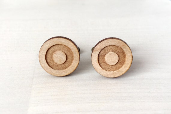 Mods cufflinks - Mod - 60's - wedding accessory - graphic men jewelry - groom - bestman - lasercut maple wood - OOAK - one of a kind