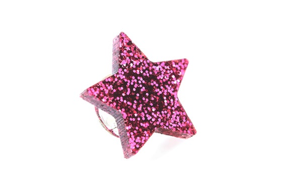 Purple glitter star pin made of lasercut acrylic - different colors - graphic brooch - not another enamel pin - bold gift for unicorn lover