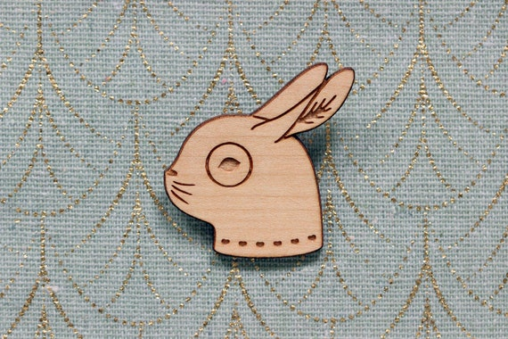Rabbit brooch made of lasercut wood - cute wooden pin - bunny jewelry - kawaii accessory - lasercutting - friendship gift