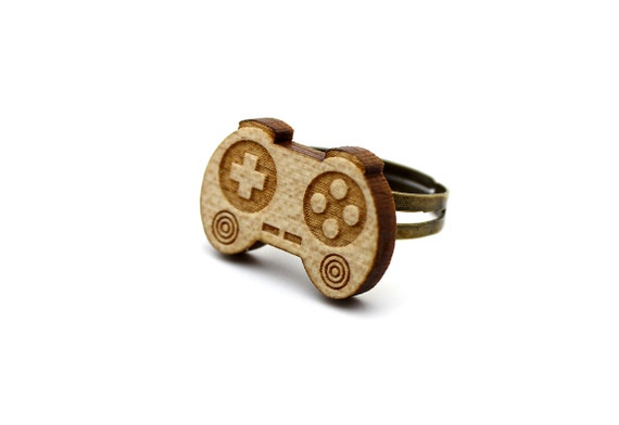 Controller ring - lasercut wood - adjustable ring - geek jewelry - joystick - video game accessory - lasercutting - graphic jewellery
