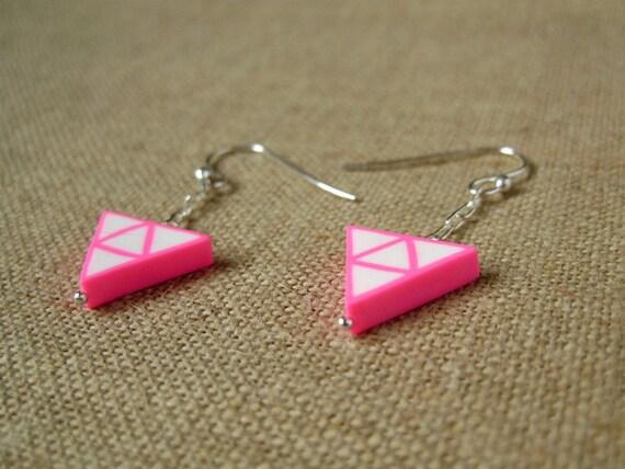Neon pink triangle earrings, sterling silver findings