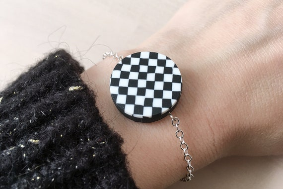 Reversible bracelet - black and white - checkerboard and stripes - polymer clay and metal - last pieces of a limited edition of 10