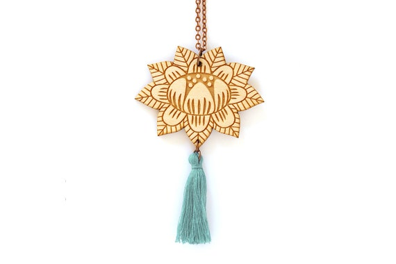 Wooden flower necklace with light teal tassel - lasercut wood pendant - stylized floral decor - summer jewelry - folk accessory