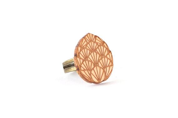 Dragon egg ring made of lasercut maple wood - fantastic jewelry for fantasy lover - mythology - OSFA