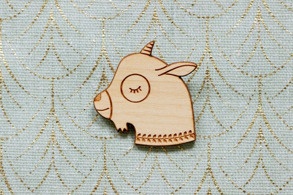 Goat brooch made of lasercut wood - cute wooden pin - goat kid jewelry - kawaii accessory - lasercutting - friendship gift