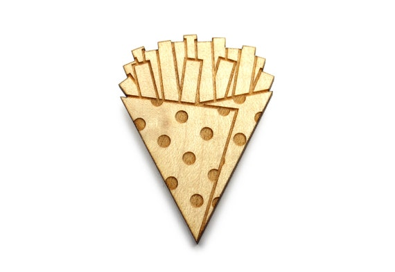 French fries brooch - chips pin - fast food jewelry - lasercut maple wood - graphic food accessory - laser jewellery