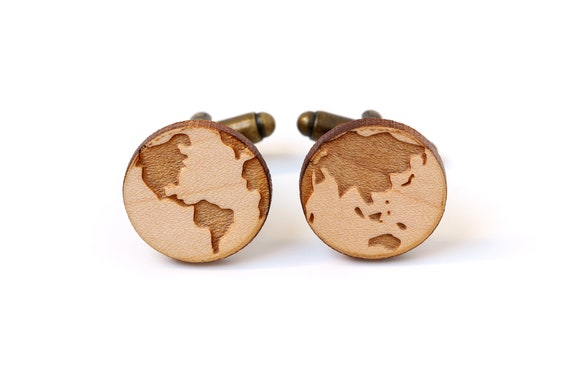 Planet cufflinks made of lasercut maple wood - world map gift for globetrotter - travel wedding - bestman accessory - groom jewelry